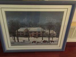"Vintage Large Framed Matted 37""x 31"" Michel Delacroix Print La Chasse d'Hiver image 5"