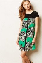 Maeve Anthropologie Green Black Yellow Floral Print Ayame Silk Dress S 4 - $85.49