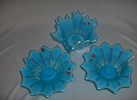 3 Pc Vintage Fostoria  Crystal Glass Heritage Opalescence Blue Candlesti... - $143.55