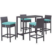 Convene 5 Piece Outdoor Patio Pub Set Espresso Turquoise EEI-1964-EXP-TR... - $880.25