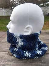 Mens Loop Scarf Dickey Cowl Hand Knit Neckwarmer Light Blue Gray Texture... - $39.60