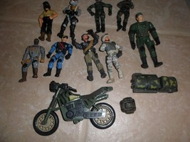 Lot Of 9 Military Action Figures jointed Lanard +brands.+motorcycle,truc... - $7.88