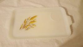 VINTAGE ANCHOR HOCKING MILK GLASS GOLDEN WHEAT TRAY REPLACEMENT FOR SNAC... - $19.74