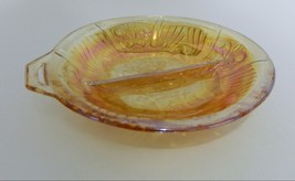 Indiana Glass Killarny Iridescent Gold Amber Divided Relish Open Handle  - $16.71