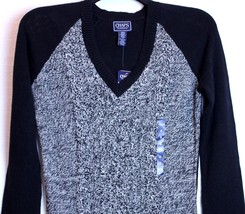 Chaps by Ralph Lauren Black V Neck Marled Knit Long Sleeve Sweater S Small 4-6 - $39.99