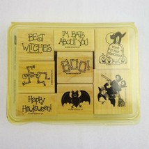 Vintage Stampin Up Wood Mounted Rubber Stamps Halloween Bats About You S... - $24.09