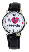 David & Goliath Black White I Love Nerds Metal Cubic Zirconia Crystal Watch NIB