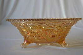 """Imperial Carnival Glass Marigold Open Rose Large Footed Bowl 11"""" - $24.75"""