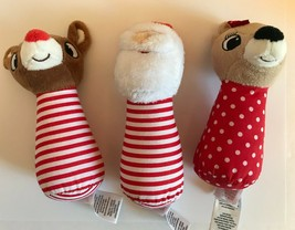 Rudolph ~Santa ~ Clarice Set of 3 Baby Rattles ~ Kris Kringle Reindeer C... - $18.56