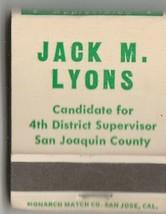 Vtg Strike on Matchbook Vote for Jack Lyons 4th District Supervisor San ... - $11.87