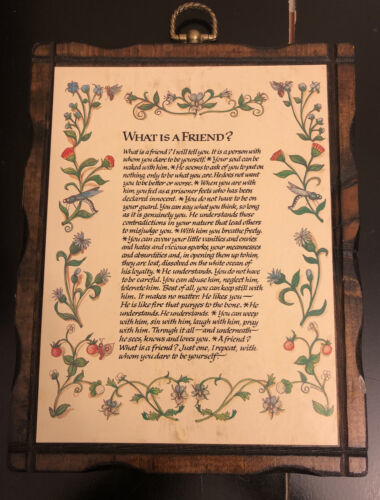 Primary image for What is a Friend framed plaque-vintage