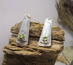 Silver earrings, green peridot, green semi precious stone. Handmade. - $112.00