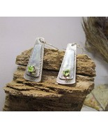 Silver earrings, green peridot, green semi precious stone. Handmade. - £86.43 GBP
