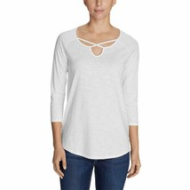 EDDIE BAUER WOMENS GATE CHECK 3/4 SLEEVE CROSS FIT TUNIC XXL (20-22) WHI... - $11.49
