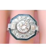 ART DECO 2.32ctw DIAMOND BLACK ENAMEL PLATINUM OCTAGON COCKTAIL ENGAGEME... - $8,275.41