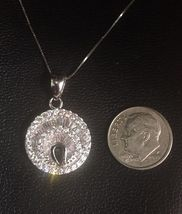 14K White Gold Layer On Solid Silver Swarovski Crystal Handset Charm Free Chain image 4