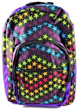 AKA Sport Backpack Book Bag Star Print Purple Black Shoulder Straps Pockets - $14.84