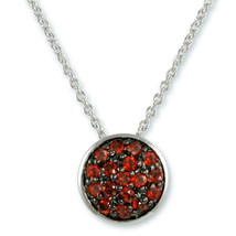NEW Dainty Weave Design Pave Ruby CZ On Black Rhodium Circle Necklace - $24.74