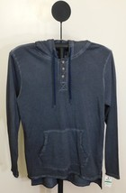 American Rag Basic Navy Blue Men's Long Sleeve Henley Hoodie Sweatshirt ... - $21.95