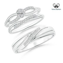 Trio Set Matching Engagement Ring Wedding Band Diamond White Gold Fn. 92... - $154.99