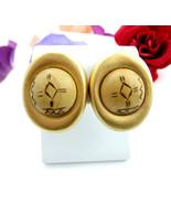 "Vintage Pierced EARRINGS WOOD SYMBOLS Oval GOLDTONE Posts 1 3/8"" Fall Autumn - $16.99"