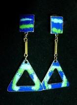Enameled Earrings Pretty Blue Design Mod Style Retro 1960s Clip Style - $20.00