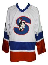 Custom Name # Springfield Indians Retro Hockey Jersey White Picard #9 Any Size image 1