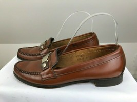 Lady Bostonian Moccasins Brown Leather Metal Ornamt Loafer Sz 7 A Shoes - $32.38