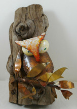 "Vintage Owl Hanging Sculpture Wood Log Metal Leaves Wall Art 10"" - $28.70"