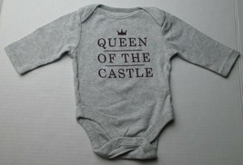 Infant Baby Girls 0-3 months Old Navy Queen of the Castle Gray Shirt - $3.00