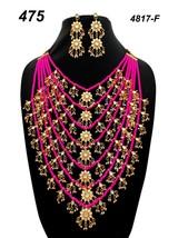 Indian Ethnic Kundan Jadau GoldPlated Necklace Earring Jewelry long haar set 04 - $35.63
