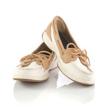 Sperry Top Sider White Tan Canvas Boat Shoes Loafers Casual Shoes Womens 8 - $24.57