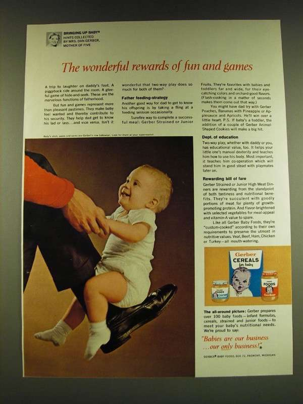 1966 Gerber Baby Food Ad - The wonderful rewards of fun and games