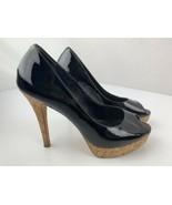 Cole Haan Nikeair Cork Platform Black Open Toe High Heels Women's Shoe S... - $30.27