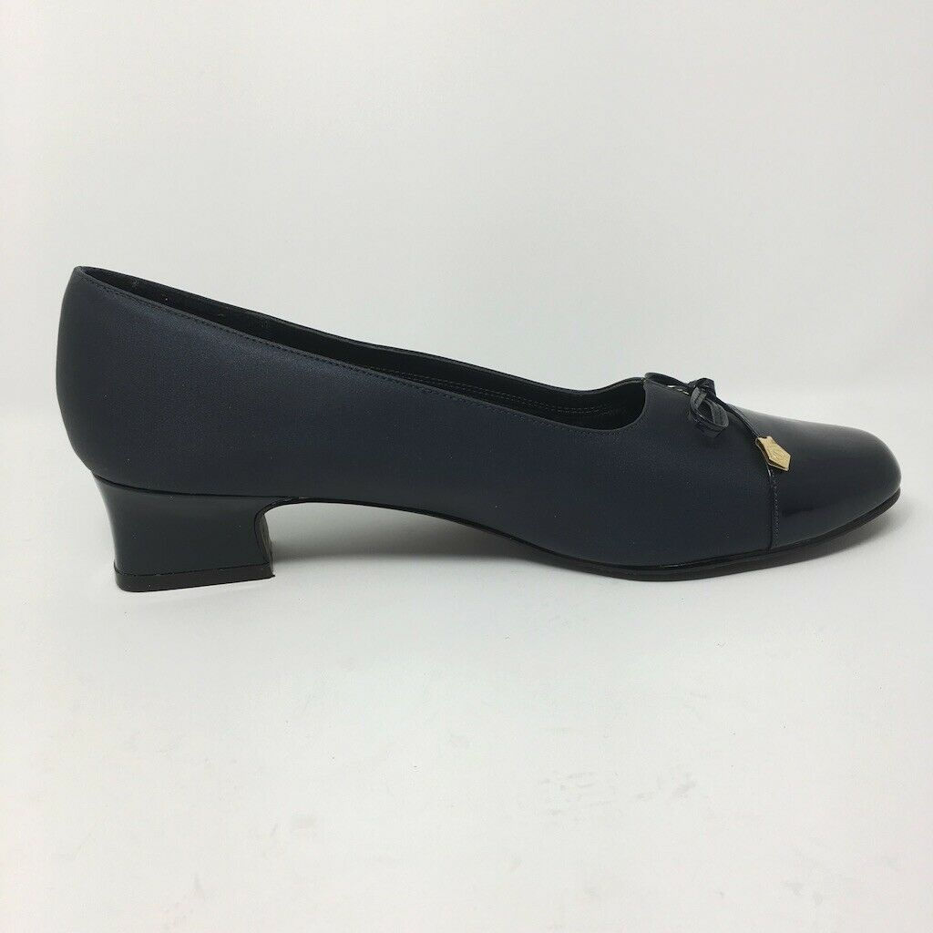 Hush Puppies Soft Style Heels, Size 9.5,  Navy Blue with Bow Accent