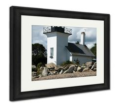 Framed Print, Unique Bristol Ferry Lighthouse Square Tower - $149.95+