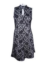 JAX Women's Mock-Neck Lace Fit & Flare Dress Size16, Black/Ivory - $38.61