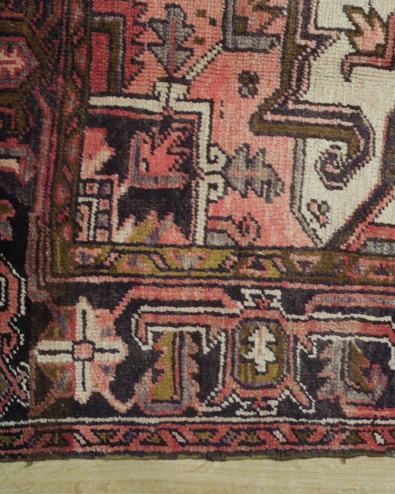 8x11 Red Heriz Wool Handmade Rust Worn-out Antique over 100 y o Persian Rug image 3
