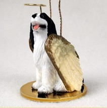 SPRINGER ( BLACK WHITE) ANGEL DOG CHRISTMAS ORNAMENT Figurine Statue Mem... - $12.98