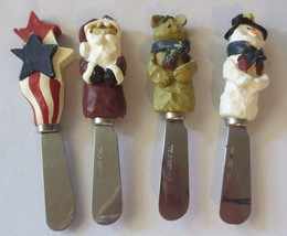 4 Holiday Cheese, Butter Knives Spreaders, stainless steel, Santa Snowma... - $188,72 MXN