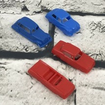 Small Vtg Plastic Toy Cars Red And Blue Game Pieces Cake Toppers Lot Of 4 - $9.89