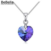 BeBella mini heart pendant necklace with 10mm heart crystals from Swarov... - $9.82