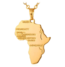 Hiphop Africa Necklace Gold Color Pendant & Chain African Map Gift Jewelry - $13.33