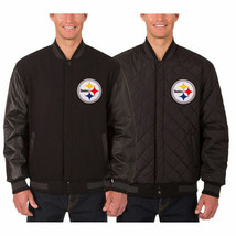 Pittsburgh Steelers Wool & Leather Reversible Jacket with Embroidered Logos - $269.99
