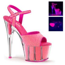 """PLEASER Sexy 7"""" Heel Neon Pink Glitter Platform Stripper Ankle Strap Shoes - $50.95"""
