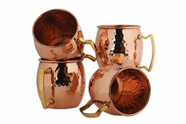 Pure Copper Barrel Style Hammered  Mugs Set of 4  - $28.48