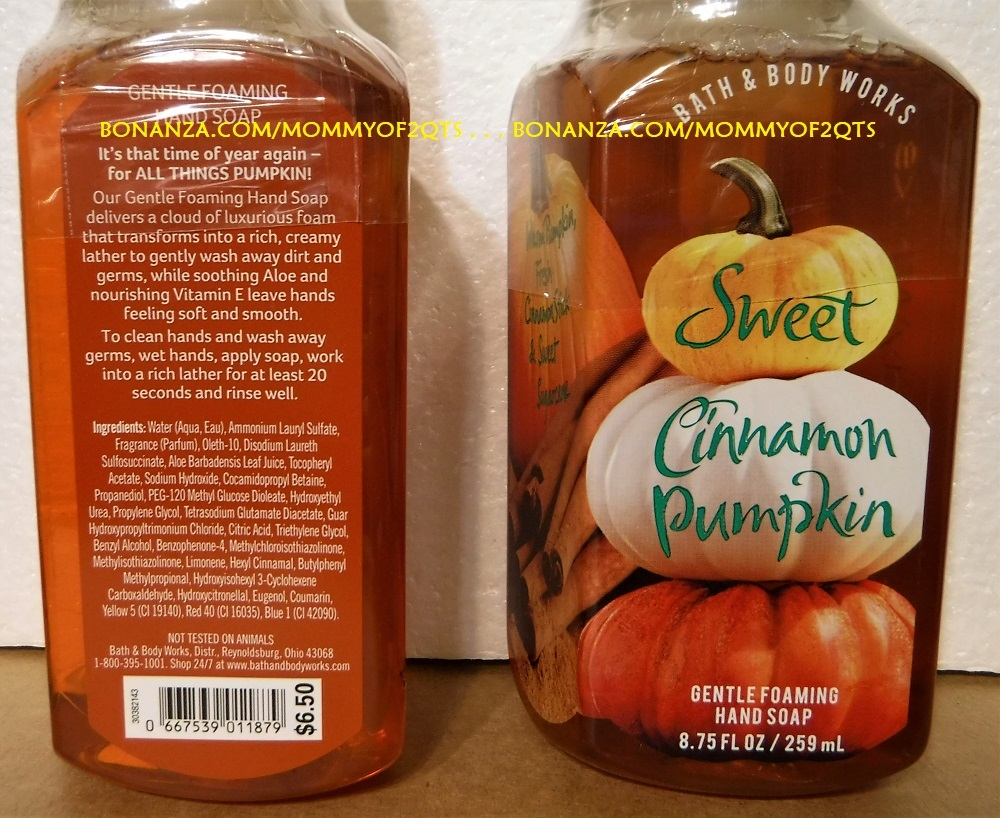 Bath Body Works SWEET CINNAMON PUMPKIN Gentle Foaming Hand Soap 2 Bottles