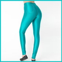 High Waist Aqua Satin Metallic  Neon Zip Up Skin Tight Legging Pencil Pants image 2