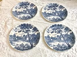 "English Village Japan 6"" Saucers Blue White - $23.03"