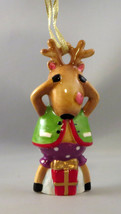 Reindeer Christmas Ornament No Peeking Presents Gold String New  - $12.86